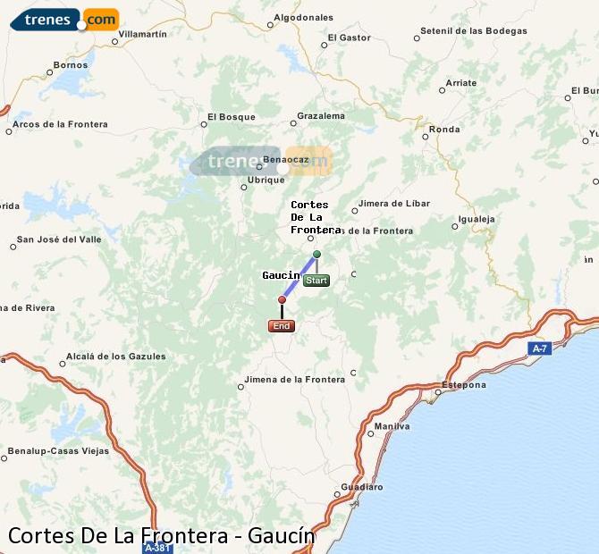 Karte vergrößern Züge Cortes De La Frontera Gaucín