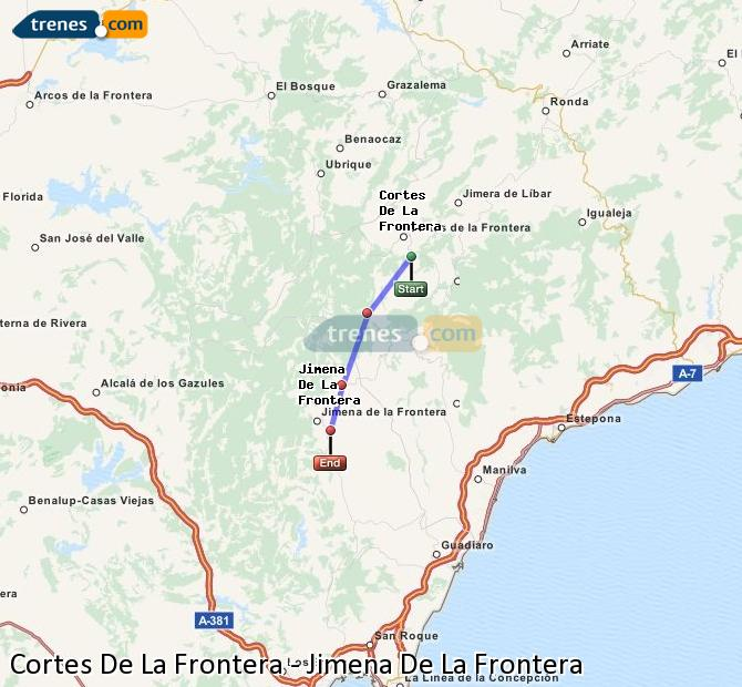 Ampliar mapa Trenes Cortes De La Frontera Jimena De La Frontera