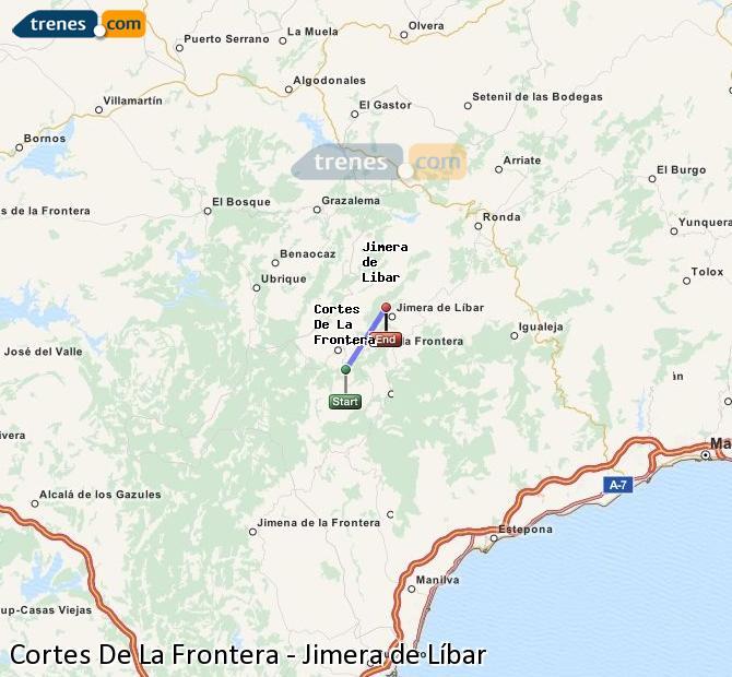 Agrandir la carte Trains Cortes De La Frontera Jimera de Líbar
