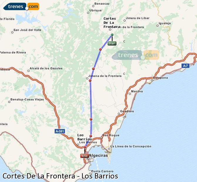 Karte vergrößern Züge Cortes De La Frontera Los Barrios