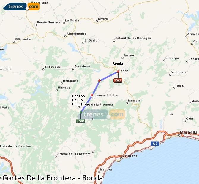 Agrandir la carte Trains Cortes De La Frontera Ronda