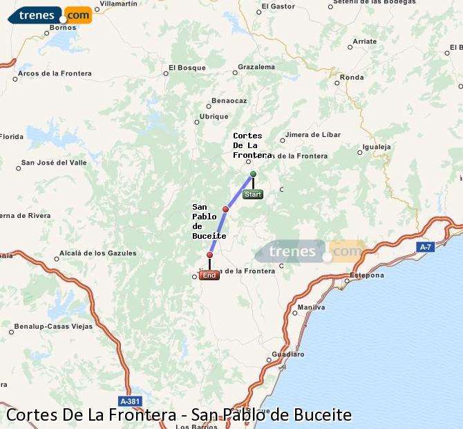 Agrandir la carte Trains Cortes De La Frontera San Pablo de Buceite