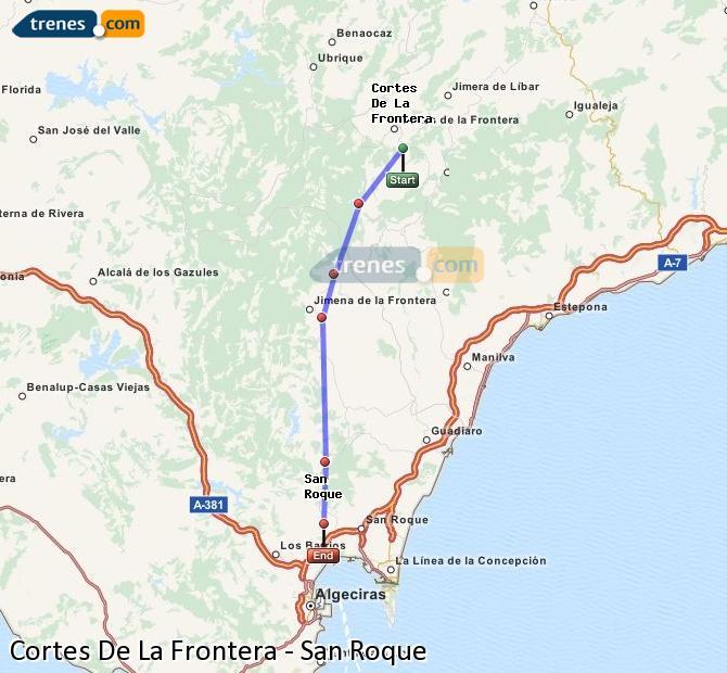 Ingrandisci la mappa Treni Cortes De La Frontera San Roque