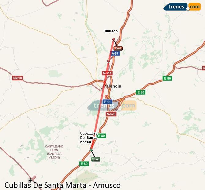 Ingrandisci la mappa Treni Cubillas De Santa Marta Amusco