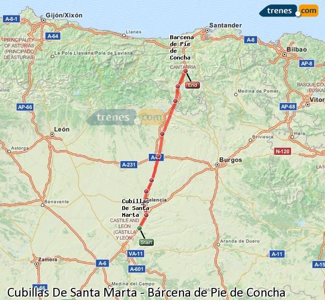 Agrandir la carte Trains Cubillas De Santa Marta Bárcena de Pie de Concha
