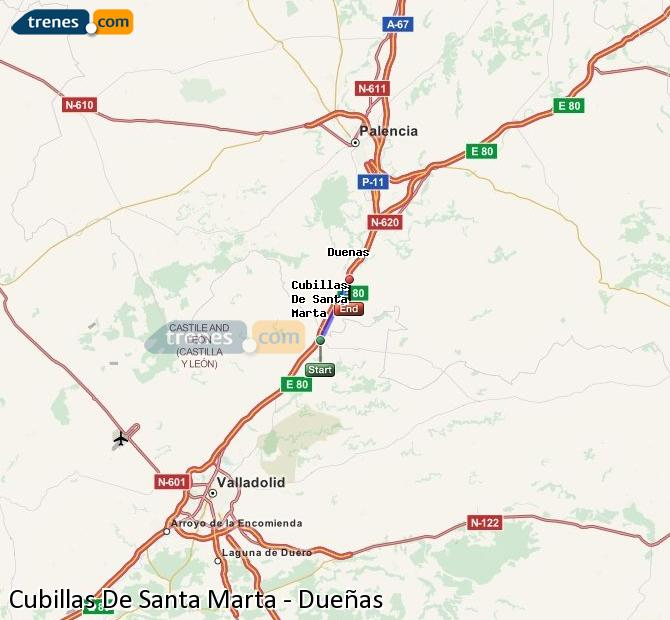 Karte vergrößern Züge Cubillas De Santa Marta Dueñas