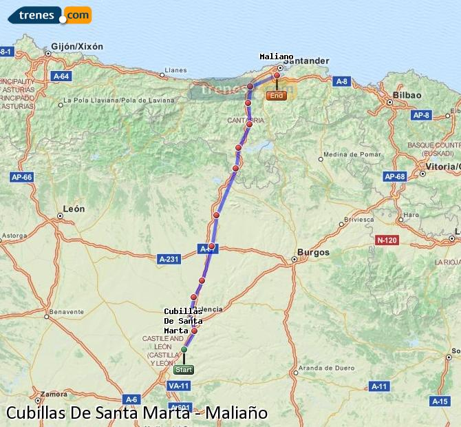 Enlarge map Trains Cubillas De Santa Marta to Maliaño