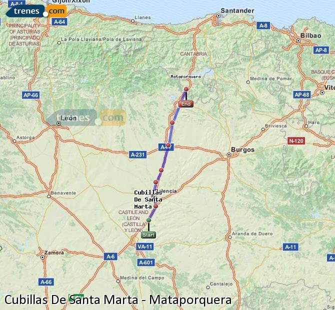 Enlarge map Trains Cubillas De Santa Marta to Mataporquera