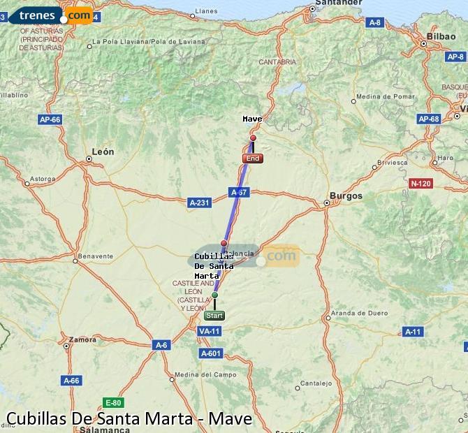 Enlarge map Trains Cubillas De Santa Marta to Mave