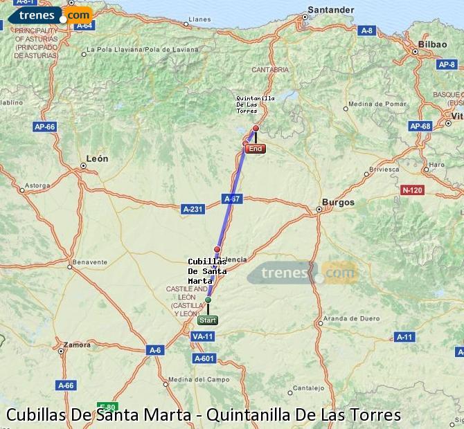 Enlarge map Trains Cubillas De Santa Marta to Quintanilla De Las Torres
