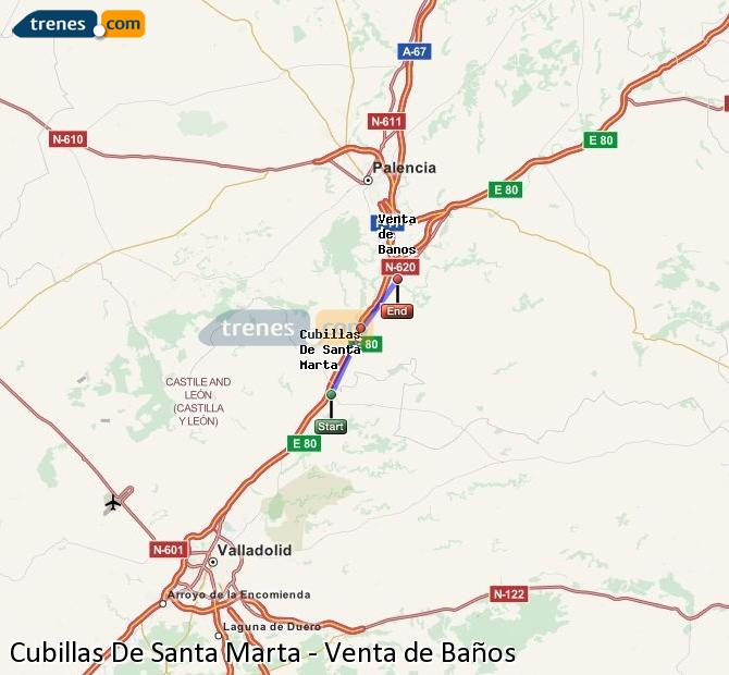 Enlarge map Trains Cubillas De Santa Marta to Venta de Baños