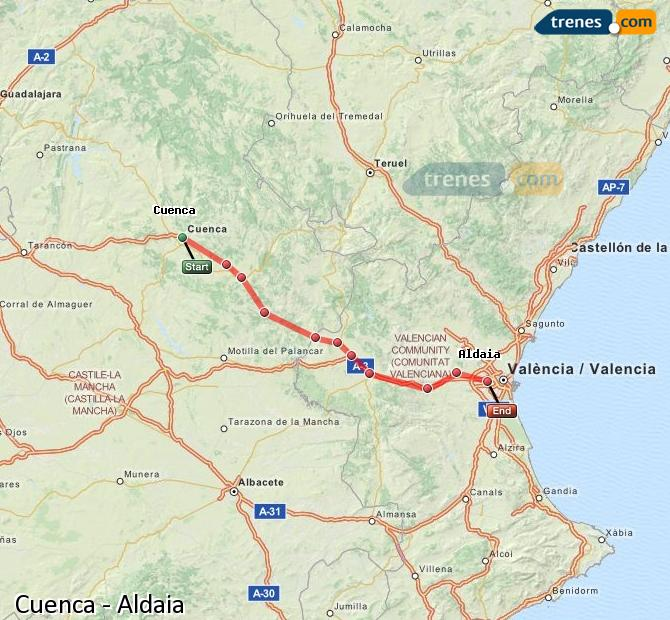 Enlarge map Trains Cuenca to Aldaia