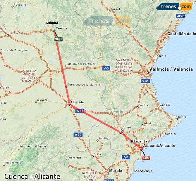 Enlarge map Trains Cuenca to Alicante