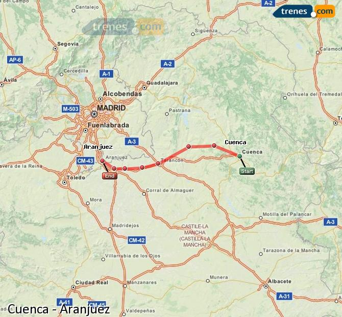 Enlarge map Trains Cuenca to Aranjuez