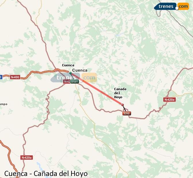 Enlarge map Trains Cuenca to Cañada del Hoyo