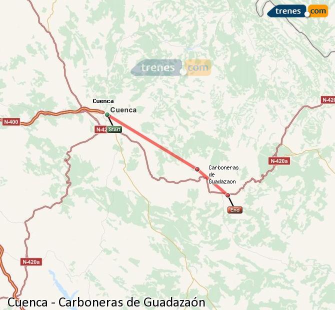 Enlarge map Trains Cuenca to Carboneras of Guadazaón