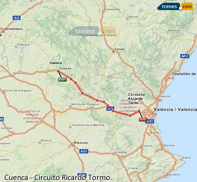 Enlarge map Trains Cuenca to Ricardo Tormo Circuit