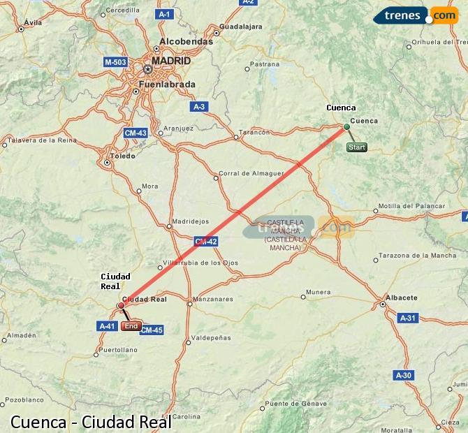 Enlarge map Trains Cuenca to Ciudad Real