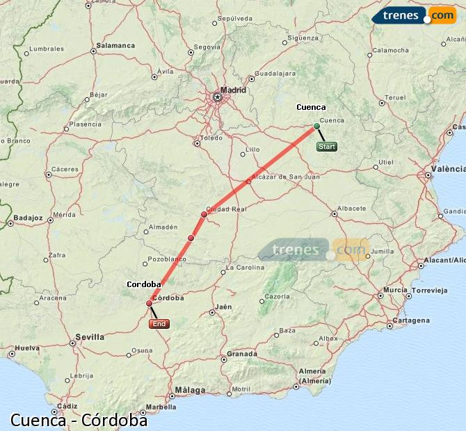 Enlarge map Trains Cuenca to Córdoba