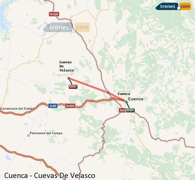 Enlarge map Trains Cuenca to Cuevas De Velasco