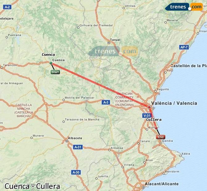 Karte vergrößern Züge Cuenca Cullera