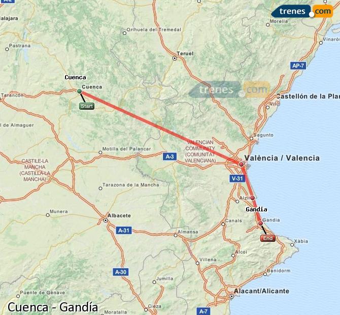 Ingrandisci la mappa Treni Cuenca Gandía