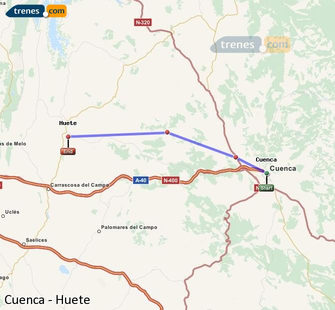 Enlarge map Trains Cuenca to Huete
