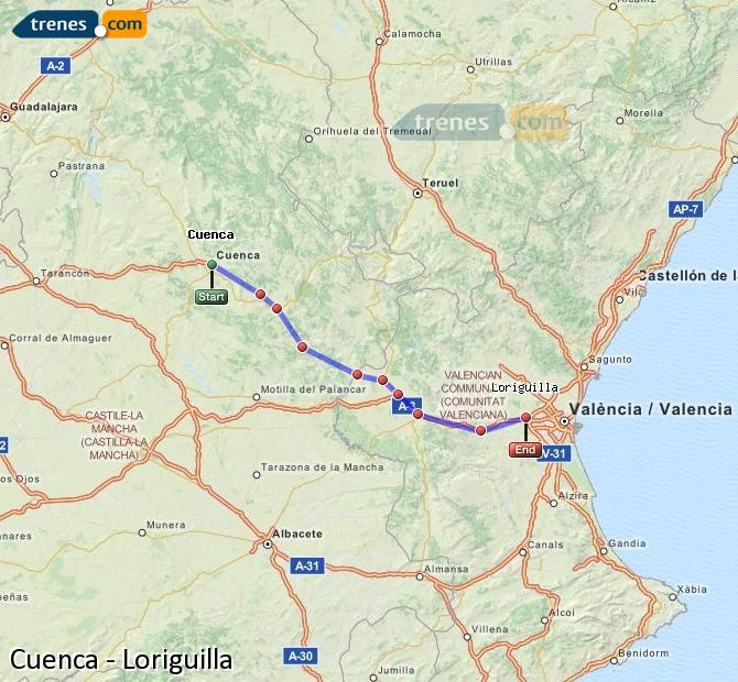 Enlarge map Trains Cuenca to Loriguilla