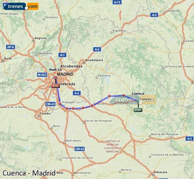 Ingrandisci la mappa Treni Cuenca Madrid
