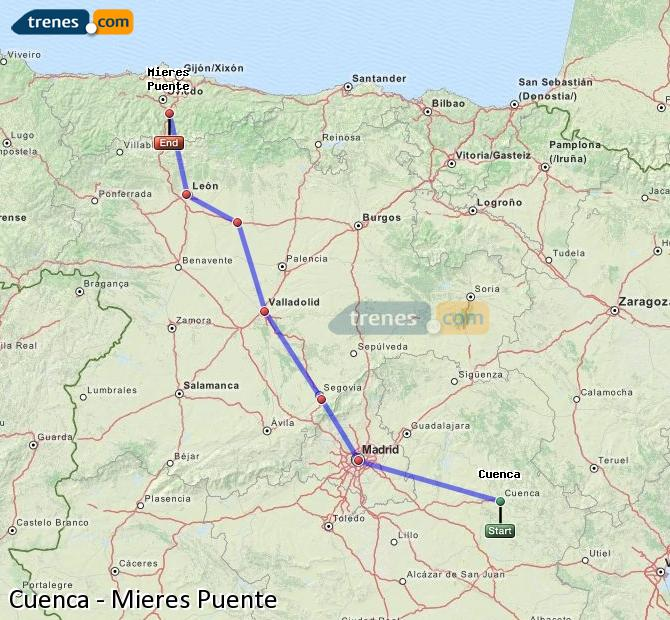 Enlarge map Trains Cuenca to Mieres Puente