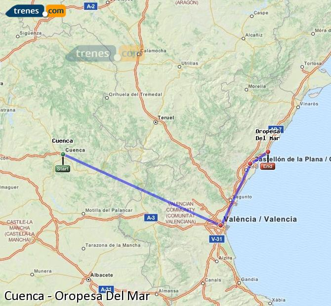 Enlarge map Trains Cuenca to Oropesa Del Mar