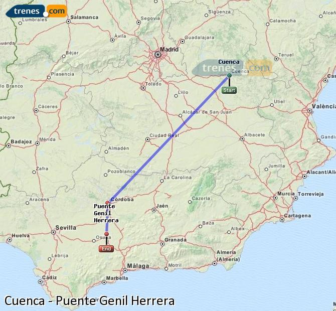 Karte vergrößern Züge Cuenca Puente Genil Herrera