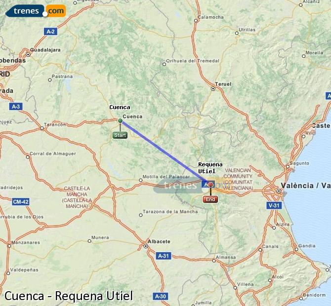 Enlarge map Trains Cuenca to Requena Utiel