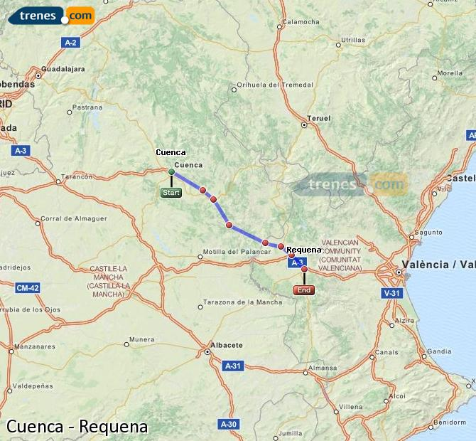 Agrandir la carte Trains Cuenca Requena