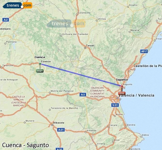 Enlarge map Trains Cuenca to Sagunto