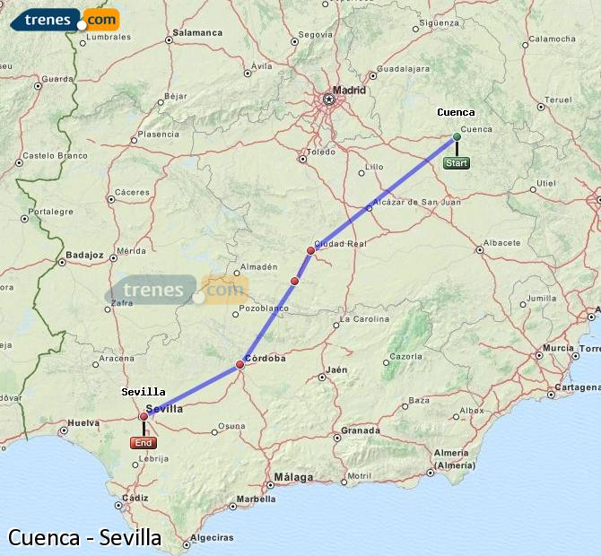 Ingrandisci la mappa Treni Cuenca Sevilla