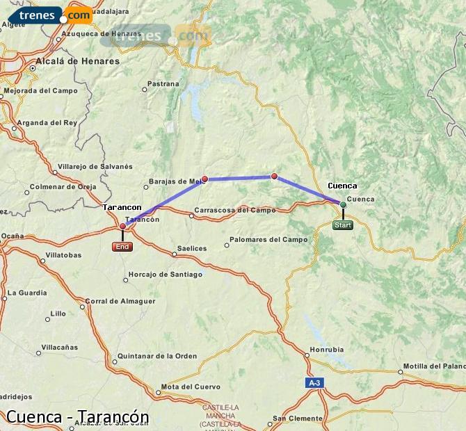 Agrandir la carte Trains Cuenca Tarancón