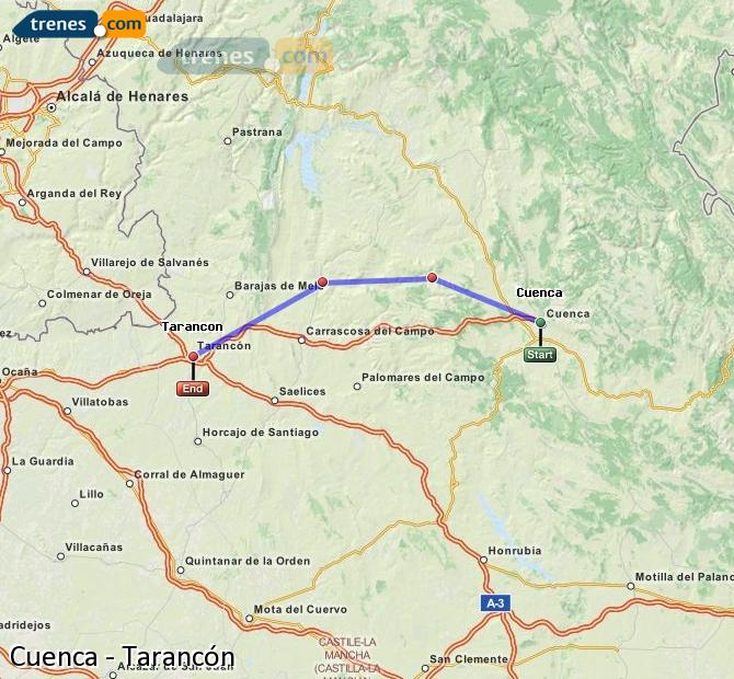 Enlarge map Trains Cuenca to Tarancon