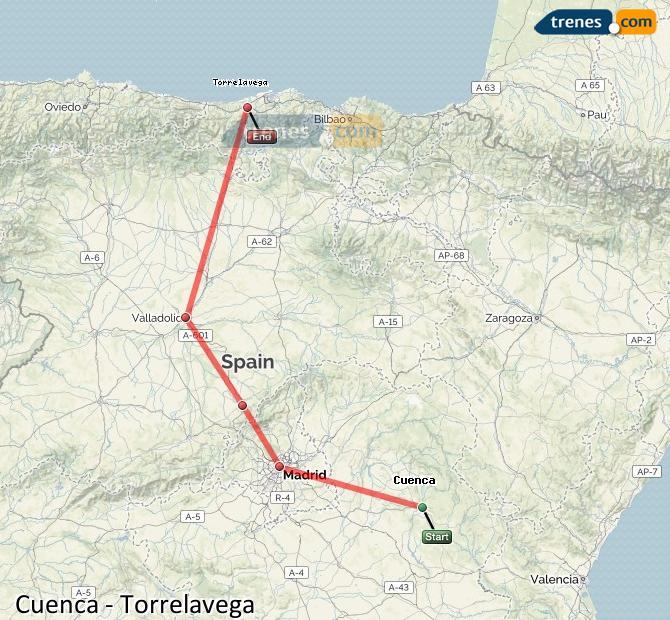 Ingrandisci la mappa Treni Cuenca Torrelavega