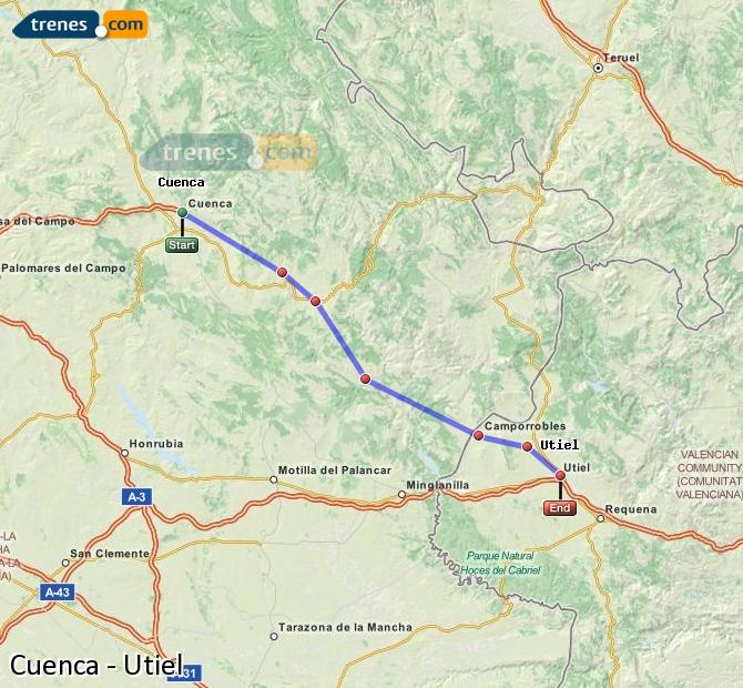 Enlarge map Trains Cuenca to Utiel