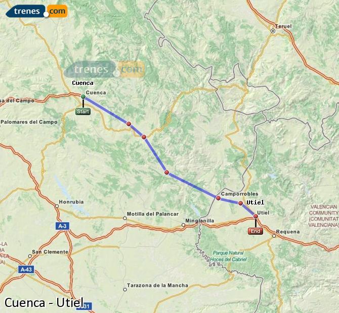 Ampliar mapa Trenes Cuenca Utiel