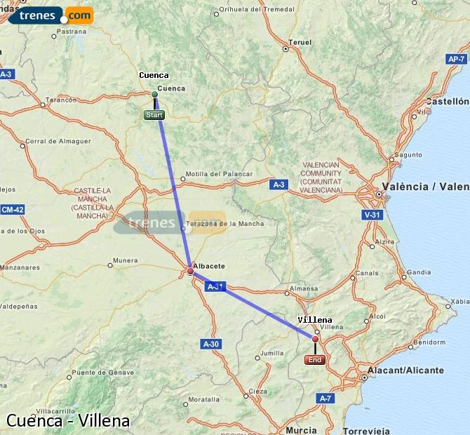 Ampliar mapa Trenes Cuenca Villena