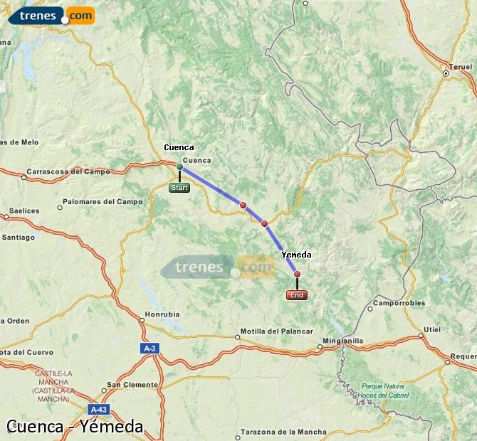 Enlarge map Trains Cuenca to Yemeda