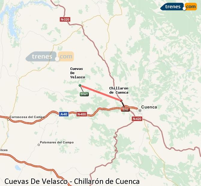 Enlarge map Trains Cuevas De Velasco to Chillarón de Cuenca