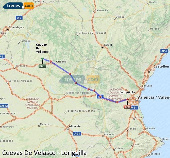Enlarge map Trains Cuevas De Velasco to Loriguilla
