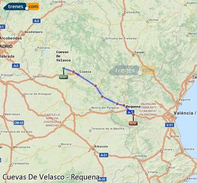 Ingrandisci la mappa Treni Cuevas De Velasco Requena