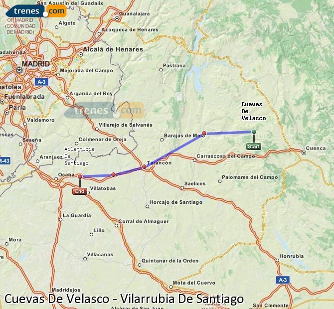 Ingrandisci la mappa Treni Cuevas De Velasco Vilarrubia De Santiago