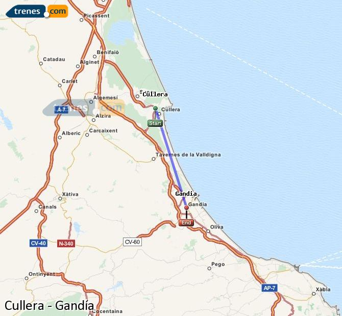 Enlarge map Trains Cullera to Gandía