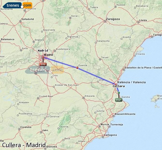 Ampliar mapa Trenes Cullera Madrid