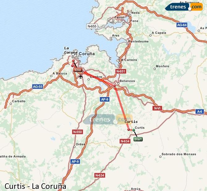 Ampliar mapa Comboios Curtis La Coruña